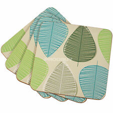 Set of 8 Beige Blue & Green Leaf Drinks Desk Coasters Coffee Table Dining Home