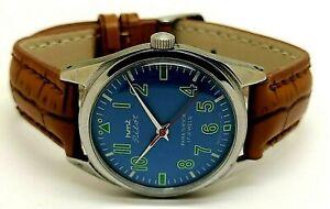 hmt pilot hand winding men steel blue dial parashock vintage watch run order