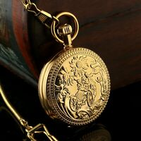 Mens Pocket Watch Mechanical Gold Case Tourbillon Cage Anqitue Chain Moon Luxury