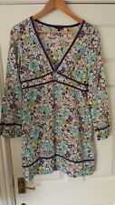 Ted Baker Ladies Floral Cotton Top Size 1/XS Gd Condition