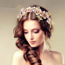 Pink Flower Wedding Bridal Baroque Crystal Butterfly Headbands Crown Tiara Gold