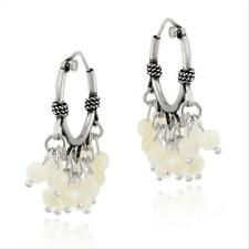 925 Silver Beaded Mother Of Pearl Hoop Chandelier Earrings