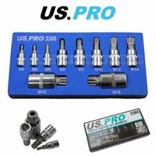 US PRO Tools 10pc Triple Square Spline Bit Sockets In Foam Tray 3388