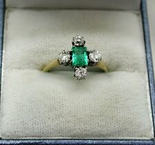 Fantastic 1920's Vintage 18ct Gold And Platinum Emerald And Diamond Ring