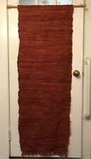 """5 ft. x 22"""" - Hanging Woven Rag Rug Tapestry On 32"""" Rod - Primitive Faded Red"""