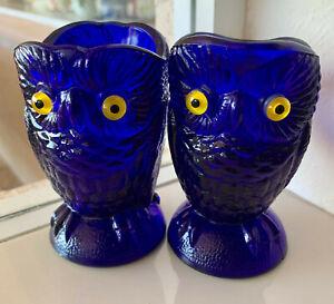 Vintage Carnival Imperial Glass Owl Cobalt Blue Cream and Sugar Set
