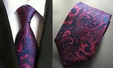 Azul marino y rosa con dibujos hechos a mano 100% Seda Tie