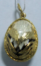 Russian Faberge Silver egg Pendant: Owl black, white, gold trim  .925 Sterling