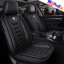 Black PU Leather 5-Seats Car Seat Cover Interior Cushions Universal USA for BMW
