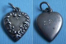 "heart sterling charm Vintage repousse ""Rb"" puffy"