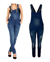 Womens Denim Jeans Dungarees Long Length Pinafore Dungaree Overall Jumpsuit