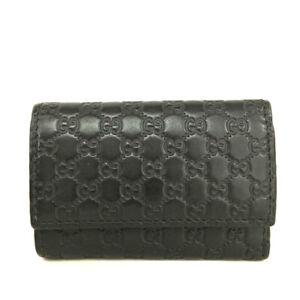 GUCCI Micro Shima GG Logo Black Leather Key Case /F0981