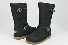 UGG KENSINGTON LEATHER/SHEEPSKIN BLACK BOOTS YOUTH 5 FITS WOMANS 7 US