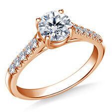 Real 14K Rose Gold Diamond Engagement Ring 0.70 Carat Stylish Rings Size G H I