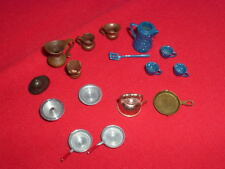 VINTAGE METAL DOLLHOUSE FURNITURE DISHES 16 pieces Mixed Lot