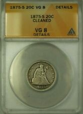 1875-S Seated Liberty Silver 20c Coin ANACS VG-8 Details Cleaned (WW)