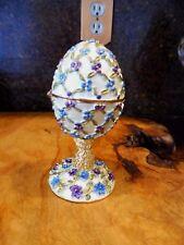 Goldtone 4in. Enamel Hinged, Decorated ornamental Egg w/stand Gold,Aqua, Purple
