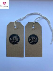 Hand Made With Love Tags Vintage Design Various Sizes Packs of 50 #Free P&P#