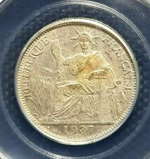 RARE 1937(a) INDO-CHINE FRANCAISE 20 Cent Silver Coin Ø26mm(+FREE1 coin)#14059