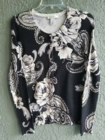 White House Black Market Floral Print 3/4 Sleeve Snap Button Cardigan Size XS