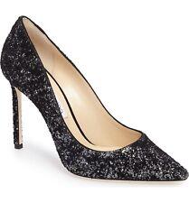 Jimmy Choo ROMY Pointy Toe Pump Heel Shoe Anthracite Black Glitter Velvet 36.5-6