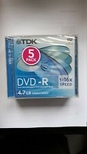TDK DVD-R Jewel Boxed 5 Pack Wrapped Brand New