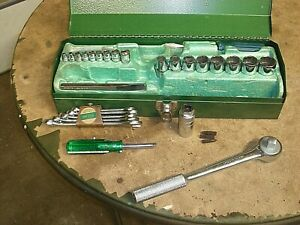 "Vintage New S-K SK Made USA 1/4"" & 1/2"" Drive RATCHET Deep & Shallow SOCKET Set"