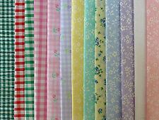 "DOLLS HOUSE MINIATURE CURTAIN FABRIC MATERIAL - ONE Piece 14""x12"" Tiny Prints"