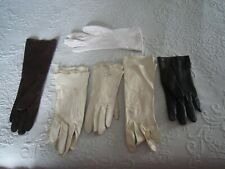 Vintage 7 Women's Ivory Black & Brown Leather Gloves Repurpose Cutters Free Shp