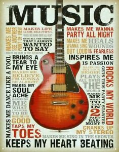 "Music Inspires Me Distressed Retro Vintage Metal Tin Sign 16"" x 12.5"" BRAND NEW"