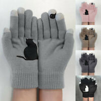 Knitted Gloves Women Unisex Thermal Animal Cat Print Mittens Lady Full Gloves
