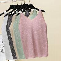 Sexy Girls V Neck Tank Tops Women Sleeveless Vest  Summer Ladies Slim Strap Tops
