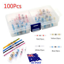 100 4 Sizes Solder Sleeve Heat Shrink Tube Wire Terminal Butt Connector With Box