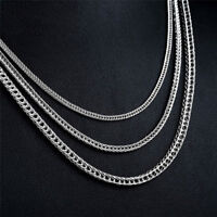 Men Womens Silver Flat Chain Stainless Steel Fox Tail Titanium Pendant Necklace