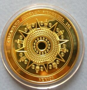 "<< MEXICO, GOLD-CLAD ""AZTEC CALENDAR"" PROOF COIN, 40 mm, ""BU"" UNCIRCULATED COIN"