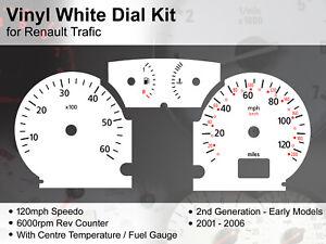 Renault Trafic (2001 - 2006) Early 2nd Gen - 120mph - Vinyl White Dial Kit