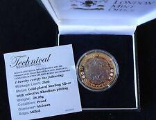 2008 prueba de plata oro y rodio plateado Diamante Rubies TDC £ 5 Caja De Moneda + cert. de autenticidad