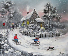 100%Hand-painted Art Oil Painting Landscape snowy Kids 16*20inch Signed