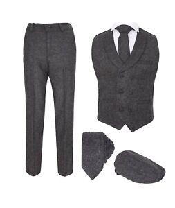 Boys Kids Herringbone Tweed Waistcoat Suit Set in Grey Thick Tailored Fit 1-16 Y