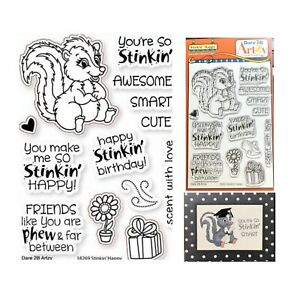 Skunk Stamps Stinkin' Cute Animals,Words Cling Stamp Set Dare 2B Artzy