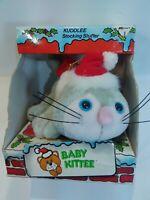 Vintage  Kuddlee Baby Kittee Stocking Stuffer in Santa Hat Tara Toy
