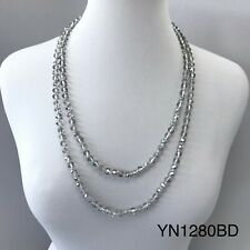 Long Wrap around Knotted Black Diamond Beaded Trendy Style Statement Necklace