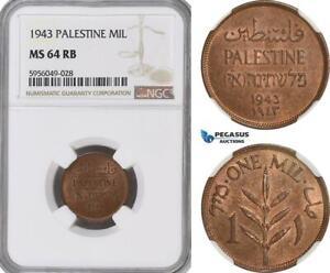 AG821, Palestine, 1 Mil 1943, London, NGC MS64RB