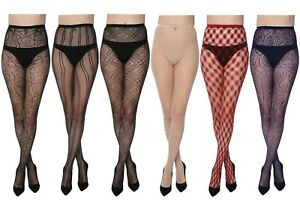 Women Fishnet Lace Stocking Tights Pantyhose Regular & Plus Sizes 22-1 (6-Pairs)