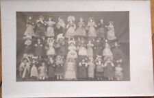 Doll 1915 Realphoto Postcard: Thirty Dolls in Various Costumes