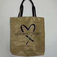 Victoria Secret Tote Bag Purse Overnight Bag Gold Black Spell Out NEW