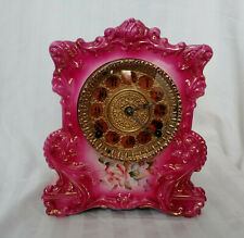 Antique Gilbert 1896 No. 430 Fuchsia, Gold Floral China Porcelain Mantle Clock