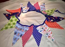 Handmade Double Sided Boys Bunting, Quilters Cotton , Room Decor 3m Long