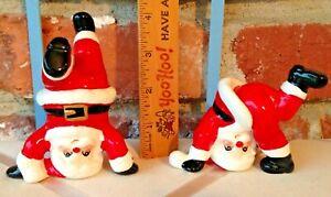 2 Vintage Christmas Santa Claus Figurines - Fitz & Floyd Porcelain Acrobats!