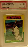 1975 TOPPS MINI GARY MATTHEWS CARD # 79 PSA 8 NM-MT